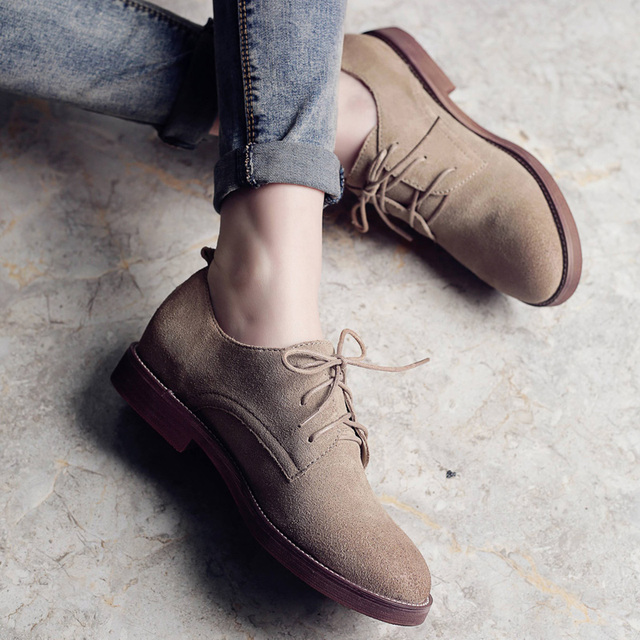 Teahoo Rétro Oxford Chaussures pour Femmes 2018 En Cuir Véritable Chaussures  Femme Lace up Oxford Chaussures c389d95d0e57