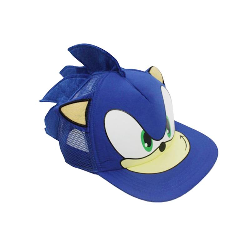 Cute Boy Sonic Cartoon Youth Adjustable Baseball Hat Cap Blue For Boys Hot Selling