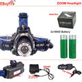 Headlamps LED Headlight XM-L T6 ZOOM 18650 Headlights Headlamp 2000lm XML-T6 18650 Rechargeable Zoomable LED BIKE light