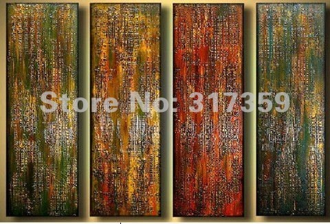 Free shipping abstract canvas art 4pc/set  Thick texture oil paintings No framed acrylic paintings art