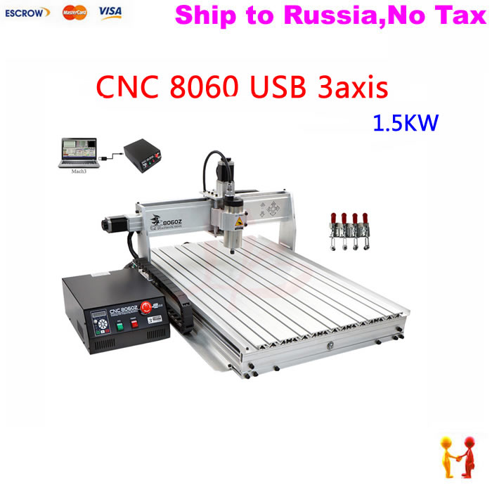 (NO TAX TO Russia) NEW popular cnc machine 8060 3axis engraving router working stroke 585*790*65mm with 1.5KW spindle+USB port huong phan reforming local government in vietnam