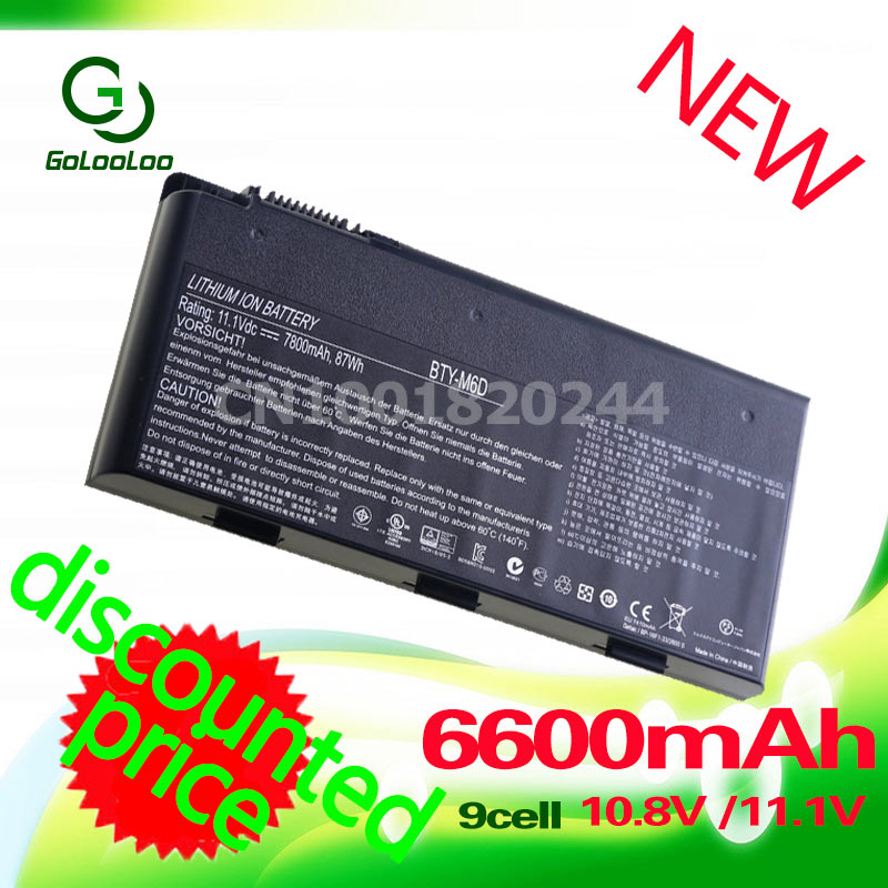 Golooloo 6600mAh laptop battery BTY-M6D E6603 For MSI GT60 GT660 GT663 GT660R GT663R GT670 GT680 GT680DX GT680DXR GT680R цена