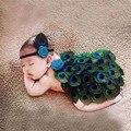 Bebé recién nacido accesorios de fotografía del pavo real hecho a mano del tutú del bebé del arco iris gorro de ganchillo con cuentas cap bebé accesorios de fotografía