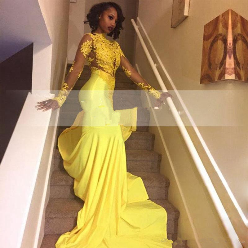 Yellow Robe De Soiree 2019 Mermaid Long Sleeves Appliques Sexy Long Women Party   Prom     Dresses     Prom   Gown Evening   Dresses