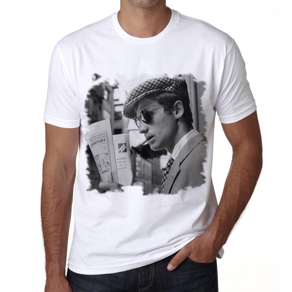 Jean Paul Belmondo Tshirt, Old Celebrities Tshirt, Tshirt Blanc Homme, Cadeau Casual Short Sleeve T shirt Novelty Tees T shirts
