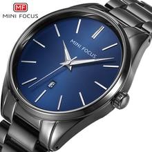 MINI FOCUS Luxury Brand Men Watches Stainless Steel Watch Waterproof Wristwatch Mens Quartz Fashion Black Blue Date Relogio