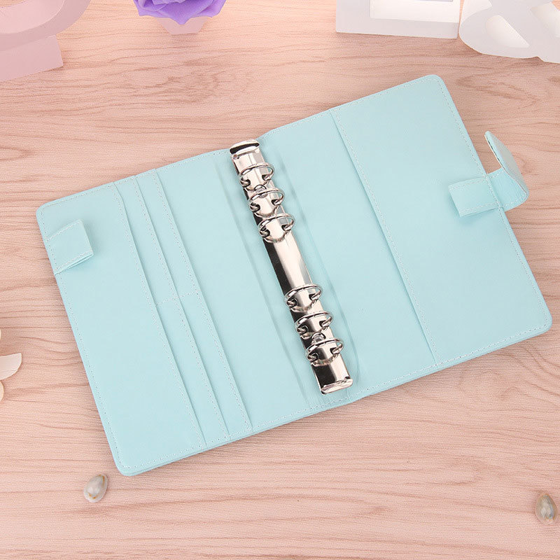 Cute A5 A6 Candy Color Leather notebook 6 Hole Loose Leaf Spiral Binder Planner Diary Weekly Planner Agenda WJ-XXWJ511- yiwi a6 creative leather notebook a5 a6 loose leaf spiral notebook diary kawaii notebooks and jourals cute agenda planner