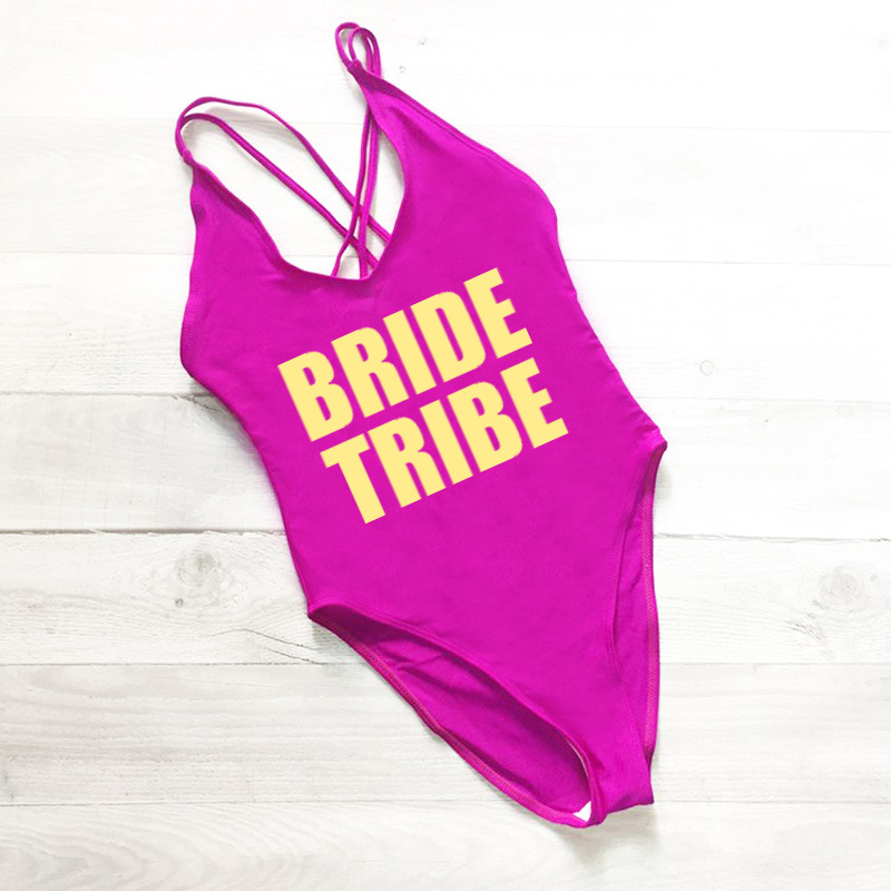 d93c3055aefc2 Sexy BRIDE TRIBE Swimwear Women One Piece Swimsuit High Cut Gold White  Letter Print Bathing Suit Bodysuit Beachwear Plus Size-in Body Suits from  Sports ...