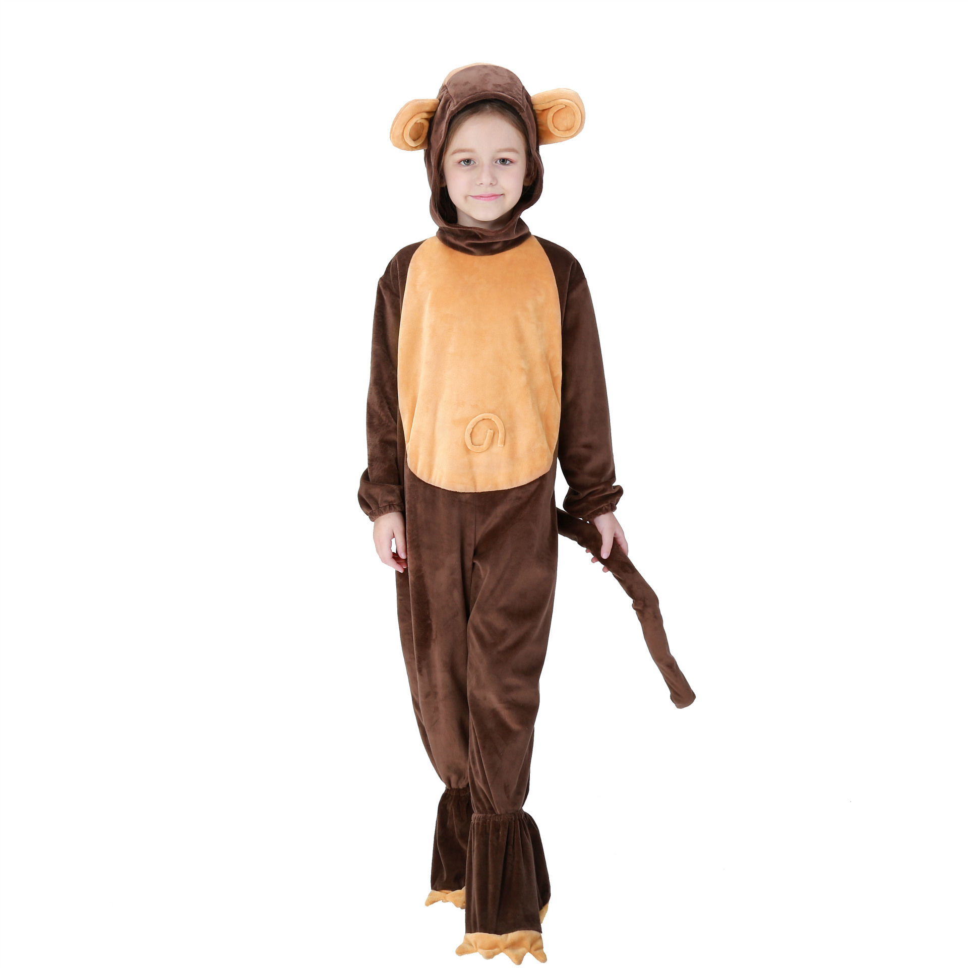 Wool Fabric Girls Monkey Brown Cosplay Clothing Halloween Kids Animal Performance Comfortable Costume
