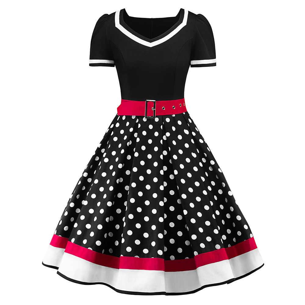 S-2XL в горошек Винтаж платье Для женщин летнее платье с v-образным вырезом без рукавов А-платье с подкладкой Милая Pin Up 50s Платья для вечеринок с поясом