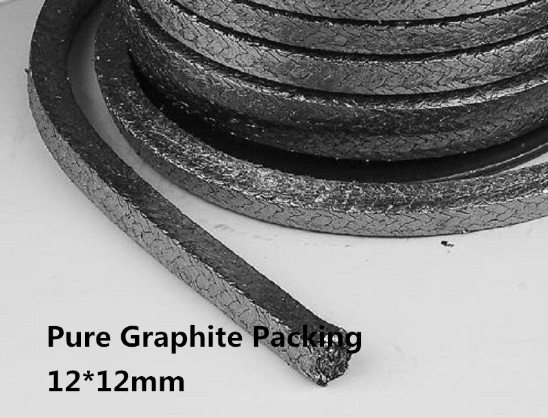 ФОТО 12*12mm pure Graphite Packing 1kg=5.2m       /flexible  graphite rope seal    for induction melting furnace