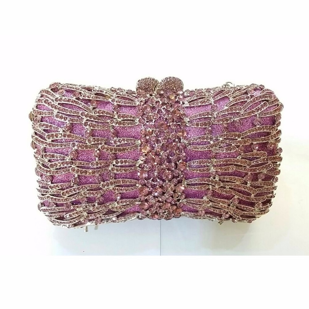 ФОТО 8320P purple Crystal BOW Lady Fashion Bridal Party hollow Metal Evening purse handbag box clutch bag case