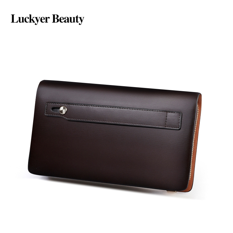 Business Men Long Wallet Designer Double Zipper Solid Leather Male Purse Brand Men Wallets Carteira Masculina 113 in Wallets from Luggage Bags
