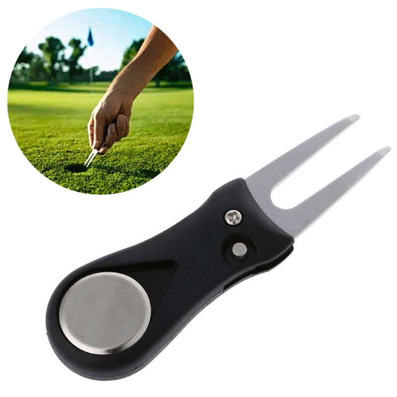 Golf Divot Repair Switchblade Pitch Groove Cleaner Pitchfork Putting Green Forks Drop Ship