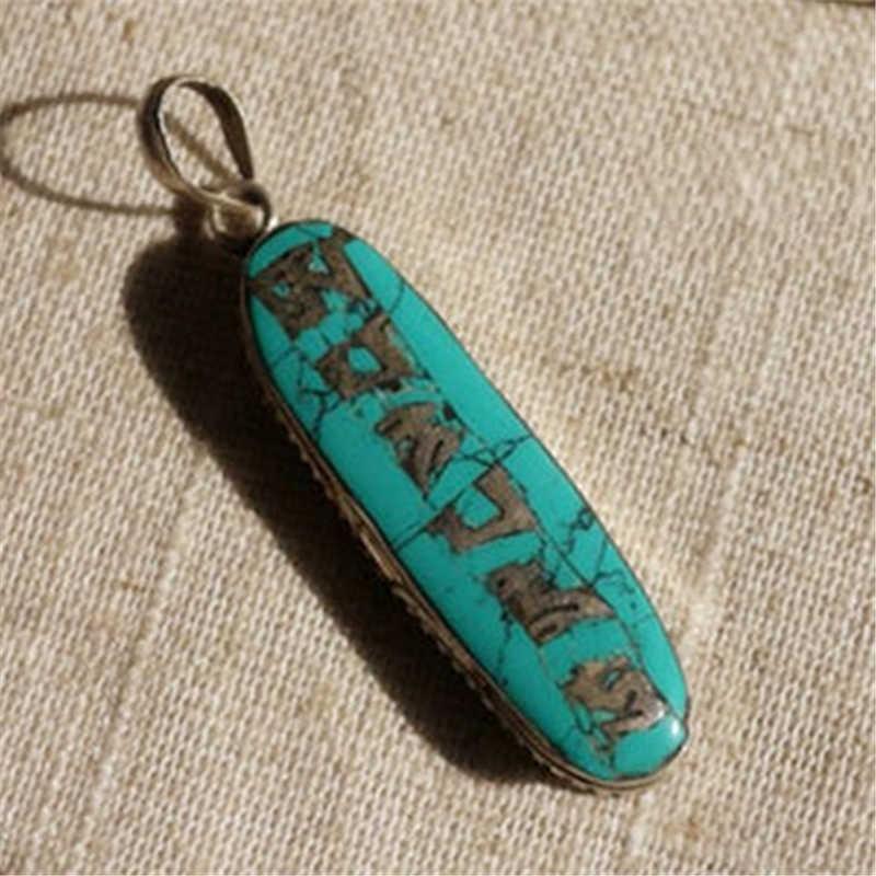 ed8281d3d9bb7 TBP308 Tibetan Mantras Amulet Pendants for Man Copper inlaid Stone OM MANI  PADME HUM