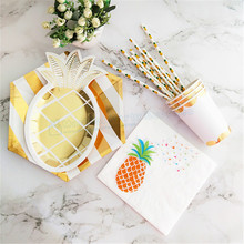 80 Sets Gold Pineapple Tableware Hexagon Paper Plates Dishes Tissue Napkins Cups Straws for Anniversary Graduation Wedding