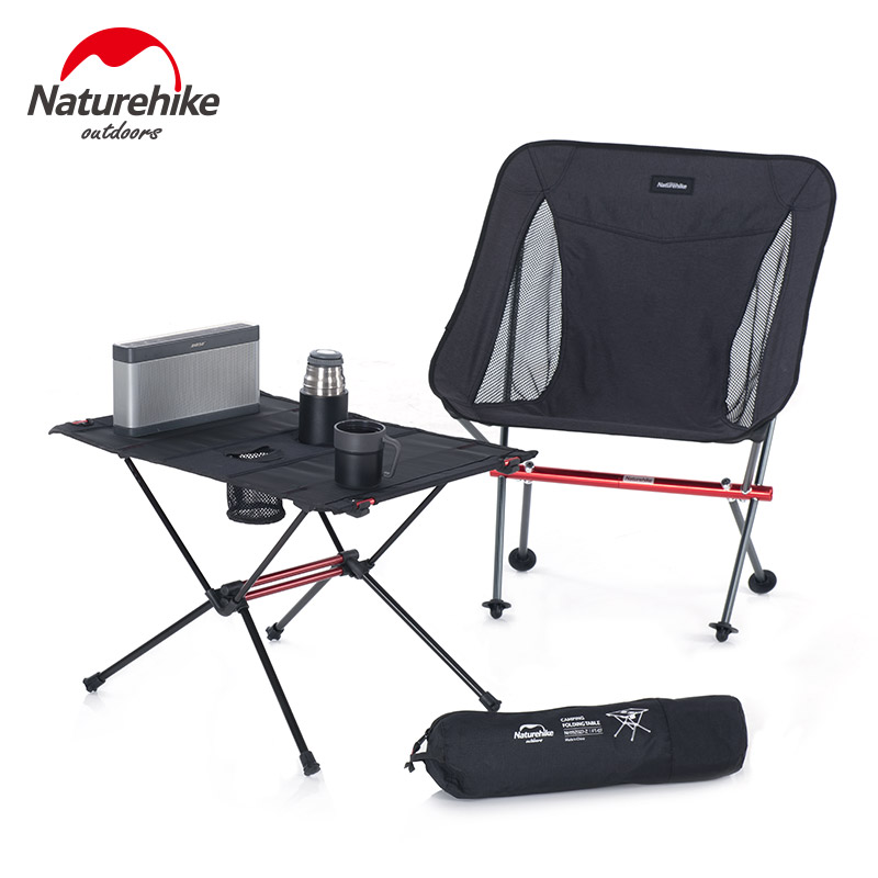 Naturel randonnée léger pliable en aluminium Portable retrousser en plein air pliant Table de Camping Patio en métal pliable Table de pique-nique - 2