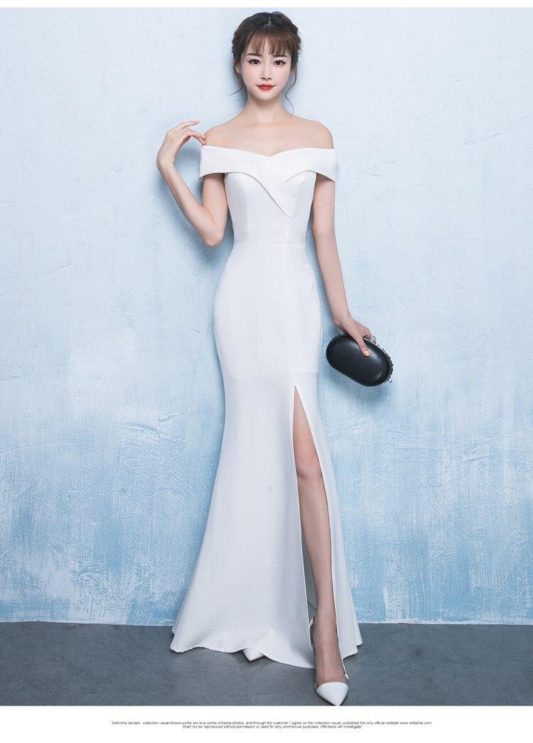 Image 4 - Off Shoulder Burgundy Evening Dress Girls Wedding Party Dress Prom Gown Dubai Long Zipper Bridal Dresses slit Robe De Soiree-in Evening Dresses from Weddings & Events