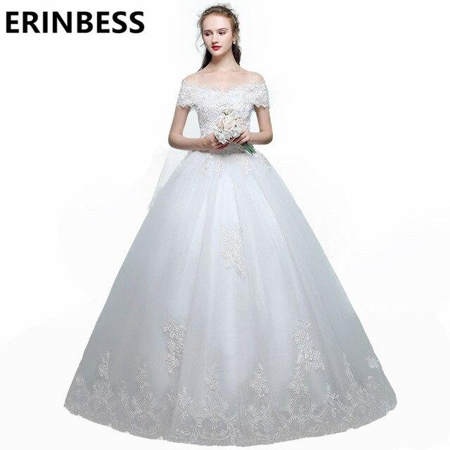 Vestido De Novia Vintage Lace Wedding Dresses 2017 Boat Neck Appliques Short Sleeve A Line Tulle