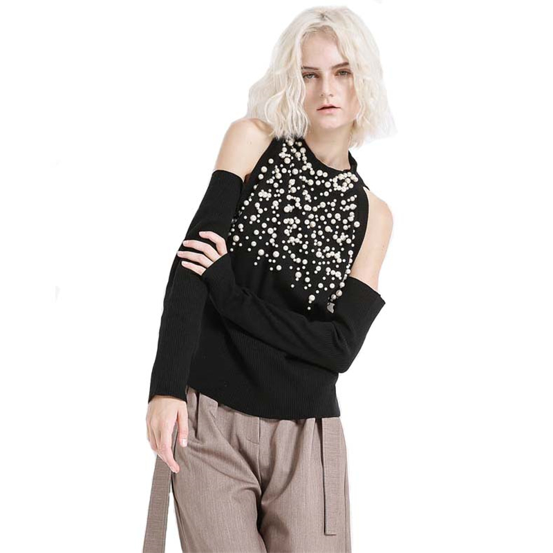 Femmes automne printemps chandail perlé à manches longues Sexy hors épaule chandails coton laine noir décontracté chandail tricoté hauts