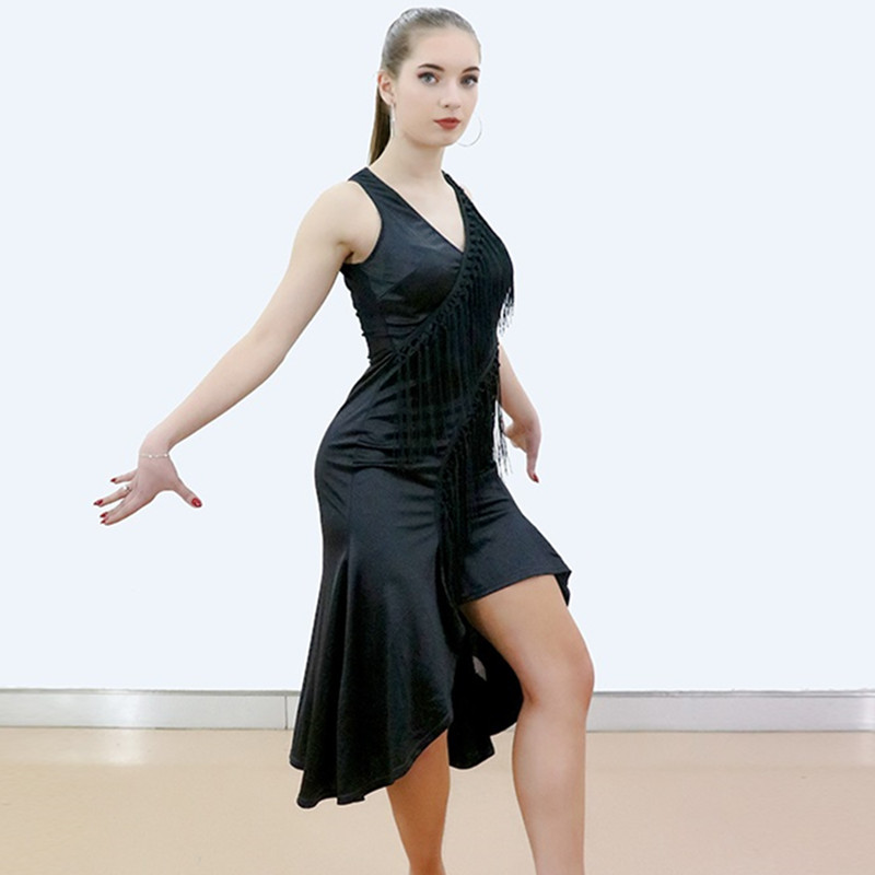 Show details for Big V-Neck Tassel Splicing Latin Dance Dress For Practice Women Latin Salsa Dress Modern Dance Costumes Latin Dress Dance Wear