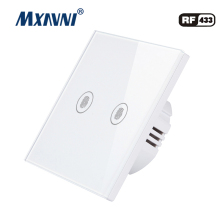 MXAVNI EU/UK Touch Switch LED Wall Light 110-240V 2 Gang 1 Way Waterproof Crystal Tempered Glass Panels