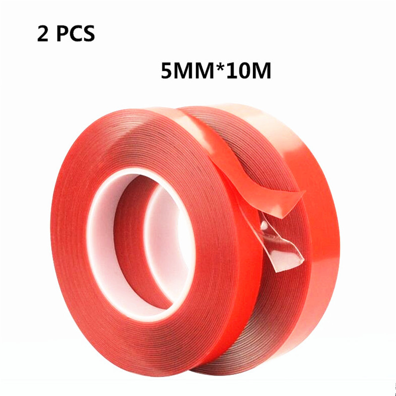 2pcs/lot 10M*5mm Strong Acrylic Adhesive PET Red Film Clear Double Side Tape No Trace For Phone Tablet LCD Screen Car Glass