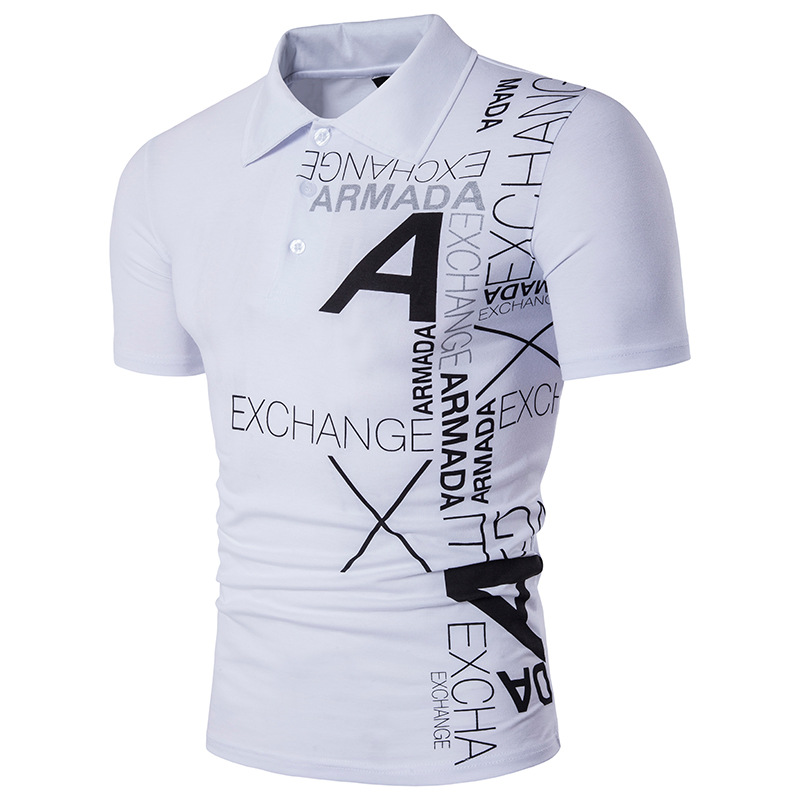 Man's leisure men's clothing short sleeve new printed A letter is very suitable for high quality cotton   polo   shirtMan's