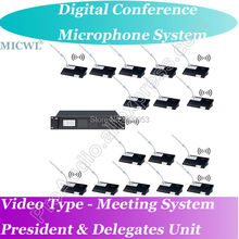 World Class Video Tracking Type Digital Wireless Microphone Conference Meeting System Host + President + Delegates Desk Unit high end uhf 8x50 channel goose neck desk wireless conference microphones system for meeting room