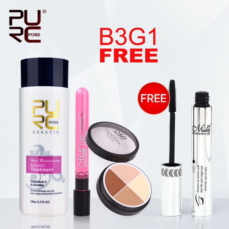 MENOW Buy 3 Pcs get 1pcs 100ml Keratin Treatment Beauty Lip Glosses Concealer Cream and Get one Free Eye Mascara Hot Sale Set