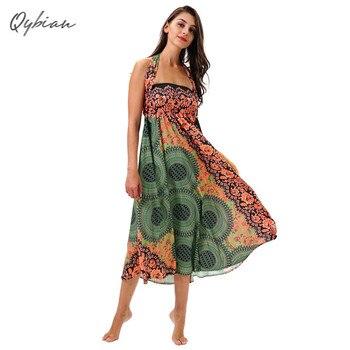 e8542ef31 2019 новое летнее сексуальное модное платье для женщин без рукавов без  бретелек с высокой талией платье с геометрическим цветным принтом