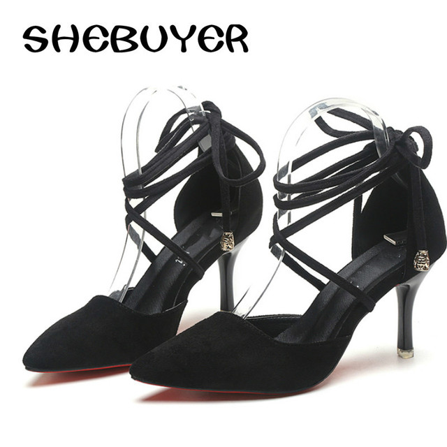 2017 New Summer Style women s Lace Up high heels Pointed Toe Bandage  Stiletto sandals celebrity ladies 7b97bc78daca