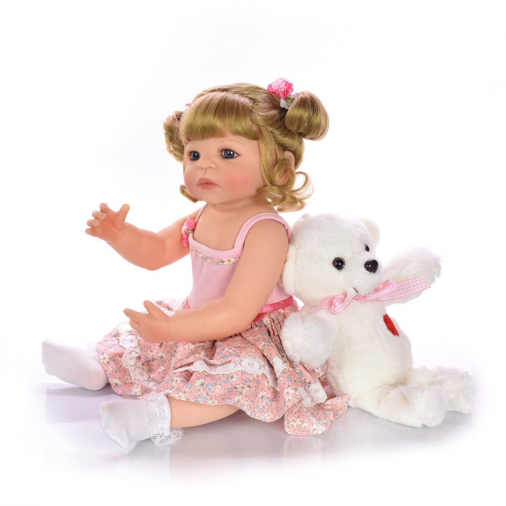 56 cm com corpo de silicone menina Reborn bébé poupées bébé vivant Bebe réaliste Boneca vraie fille poupée lol jouets de bain pour les enfants - 2