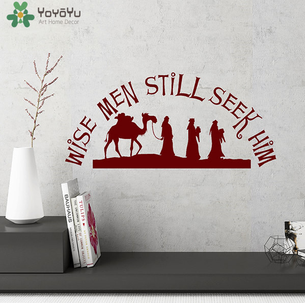 yoyoyu christmas wall decal quotes wise men still seek him vinyl wall stickers camel animal home decor art removable mural sy406 in wall stickers from home - Christmas Wall Decal