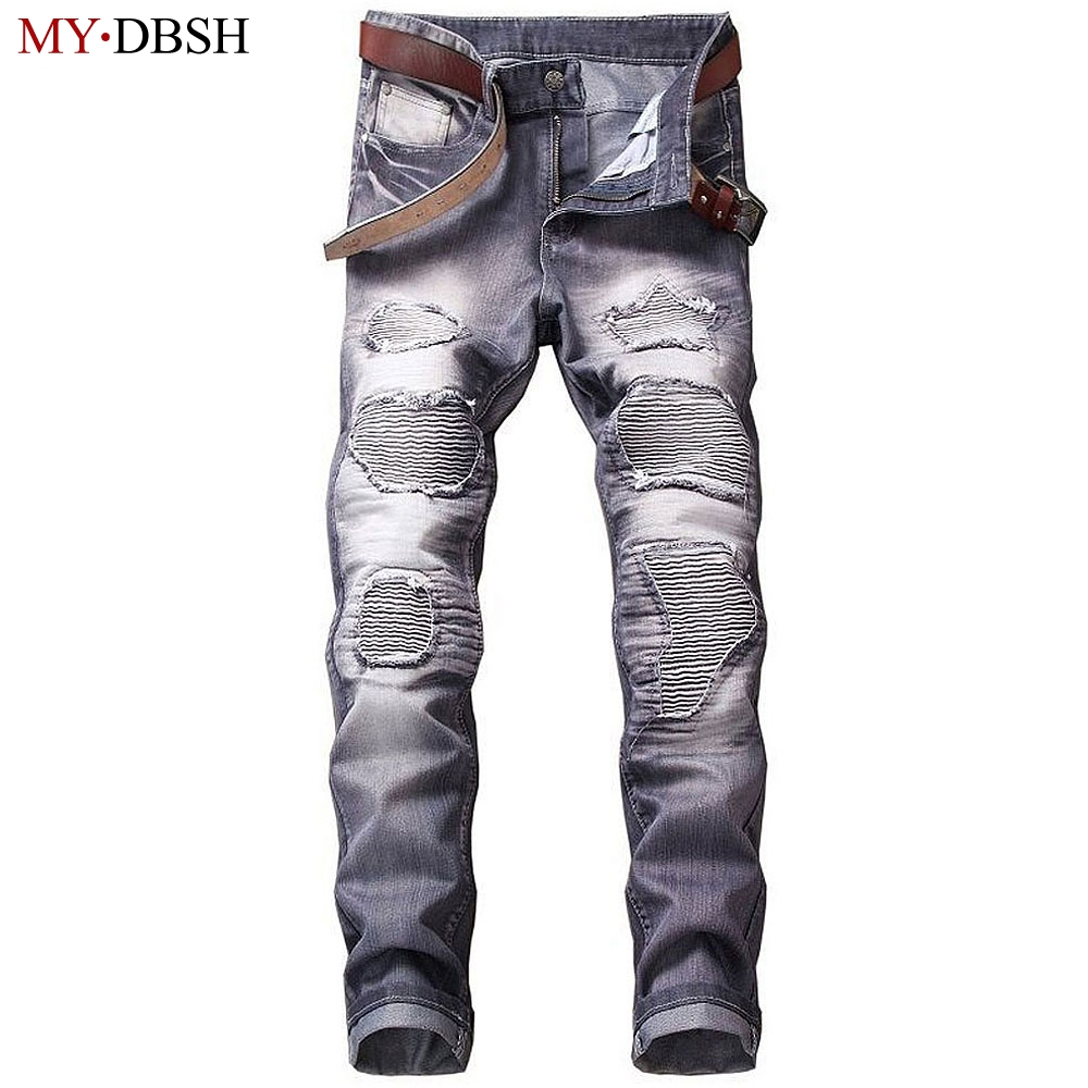 2018 Fashion Hip Hop Patch Men Retro Jeans Knee Hole Zipped Pants Men Loose Slim Destroyed Torn Ripped Denim Jeans For Youth Men