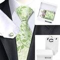 2016 Verde Dos Homens Pescoço Laços Bolso Praça Abotoaduras com Caixa Branca saco Floral Gravatas De Seda Para Homens B-1162 Cavalheiro Gravata Gravata De Seda