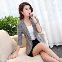 2017 Autumn New Slim Plaid Women Single Button Blazer Coats Ladies OL Office Work Wear Blasers