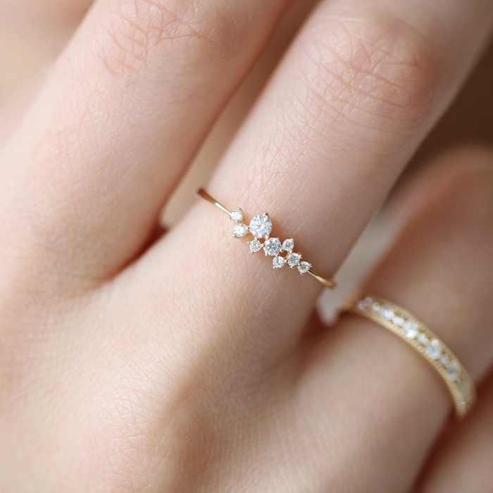 Huitan Einfache Gold Farbe Ring Für Damen Stilvolle Weibliche CZ Schmuck Täglichen Zubehör Für Mädchen Großhandel Viele & Groß Dropshipping