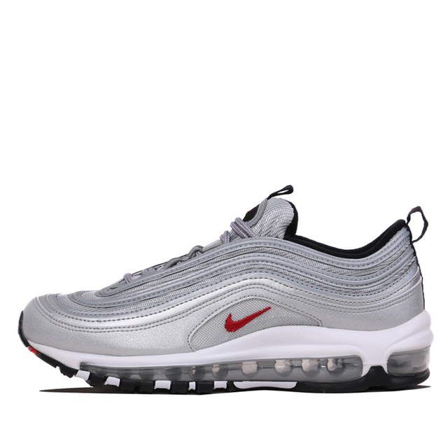 premium selection 39fcd 26d68 US $62.32 59% OFF|Nike Air Max 97 OG QS Men's Breatheable Running Shoes  Gold And Silver Bullet Sneakers # 884421-in Running Shoes from Sports & ...