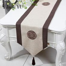 JaneYU Table Flag New Chinese Modern Simple Style Classical Restoration Tea Cloth Art Embroidery Hemp