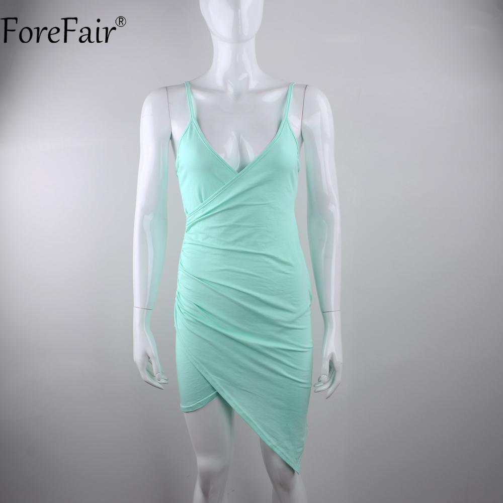 ForeFair Sexy V neck Asymmetrical Bodycon Club Party Dresses Mint ...