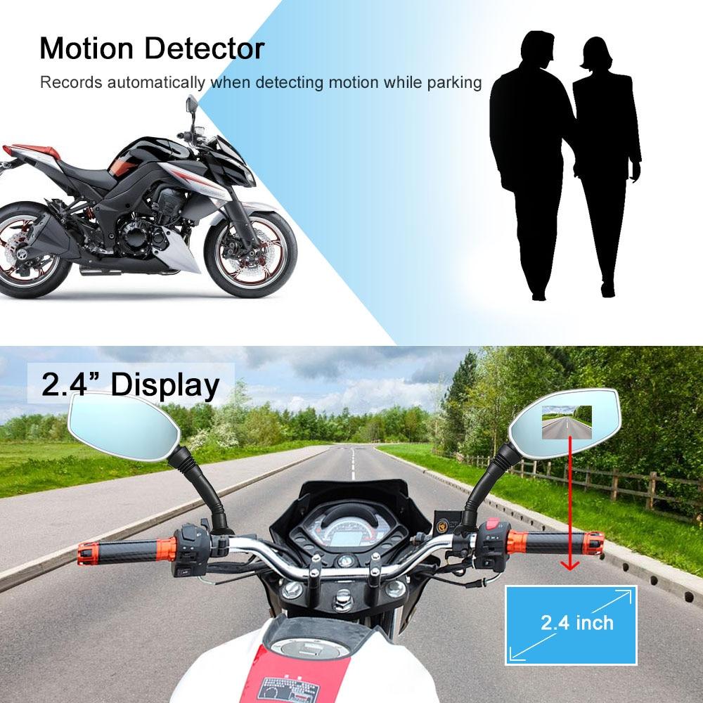 "Motorcycle Rearview Mirror Twin Camera Motorbike Dash Cam Video Camcorder 2.4"""