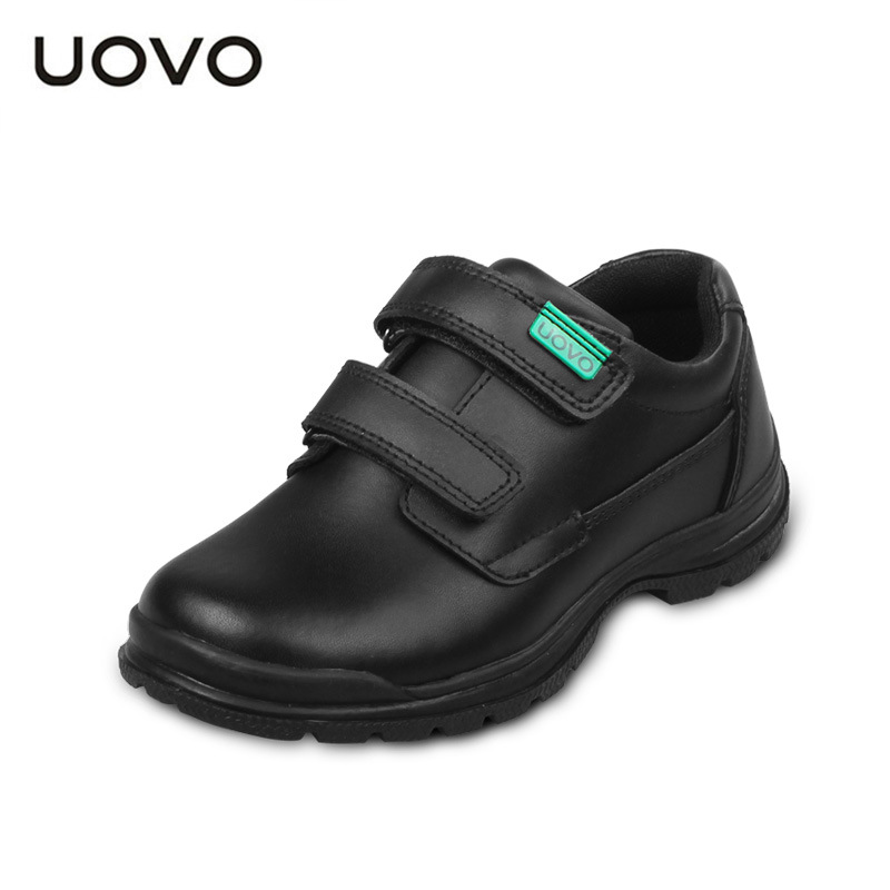 UOVO 2018 New Childrens Real Leather (Cow Split) Shoes Boys Waterproof Black Leather Shoes School Uniform Shoes Wearable Casual