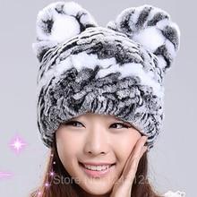 New cute sweet parent-child Baby children adult real genuine leather fur hat rex rabbit fur hat lady cat ears general warm hat