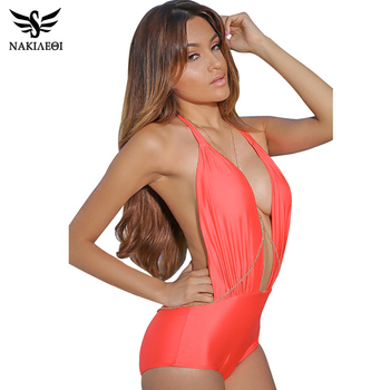NAKIAEOI Sexy Halter Swimwear Female One Piece Swimsuit Swimwear Women One Piece Swimsuit Backless Beach Bathing Suits Swimming