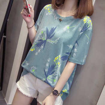L-4XLWomen Tees T-shirts Female Plus Size Casual T-shirt Print O-Neck BIg Size Tee New Summer Cotton Loose Half Sleeve T-Shirt