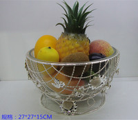 Silver Alloy With Glass Plate Of Fruit Fruit Basket Basin Furniture Home Soft Decoration Practical Fruit