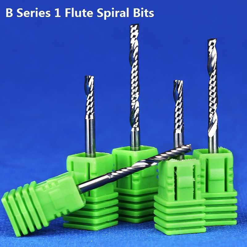 1 PC 3.175 Mm SHK B Series Ukiran Pemotong Satu Spiral Seruling Akhir Pabrik Seruling CNC Router Bit untuk Memotong 1 MDF Acylis Plastik