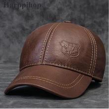 2017 новый Натуральная кожа шляпа мужской первый слой из воловьей кожи осенью зима случайный тепловой среднего возраста бейсболка шляпа для человека