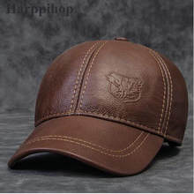 2017 new Genuine chapéu de couro masculino primeira camada de couro outono  a idade média de inverno ocasional térmica chapéu bon. 167a6d36108